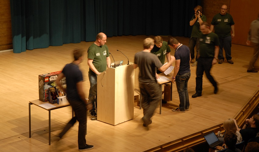 Several people on a stage